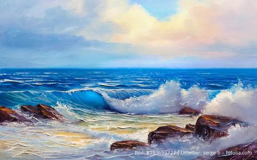 Fels in Brandung, Meer, Wellen, Achtsamkeit